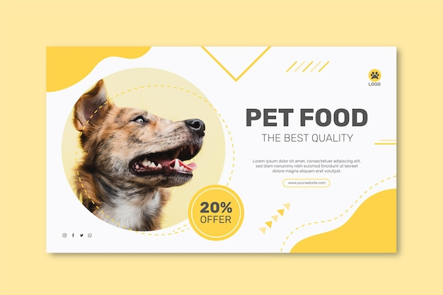 Horizontal banner template for animal food with dog