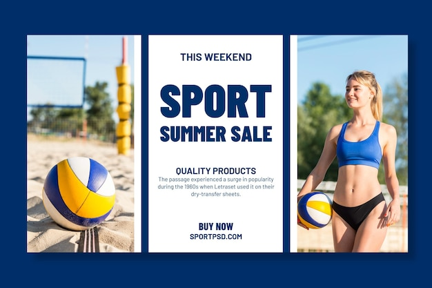 Horizontal banner template for beach volleyball