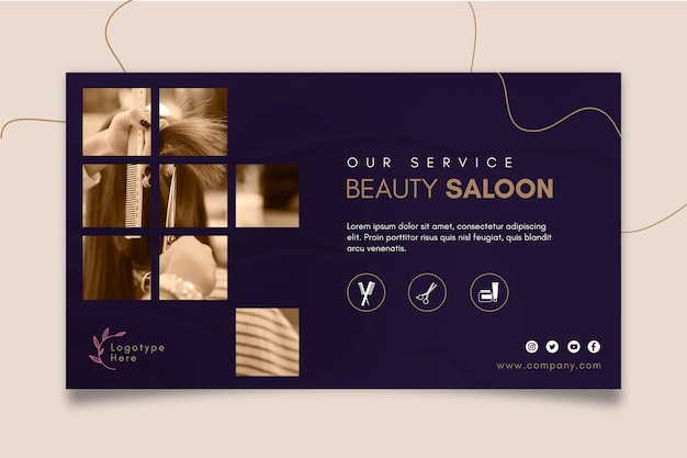 Horizontal banner template for beauty salon