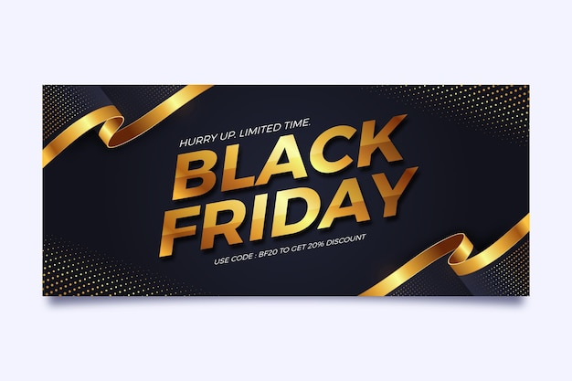 Horizontal banner template for black friday in black and gold