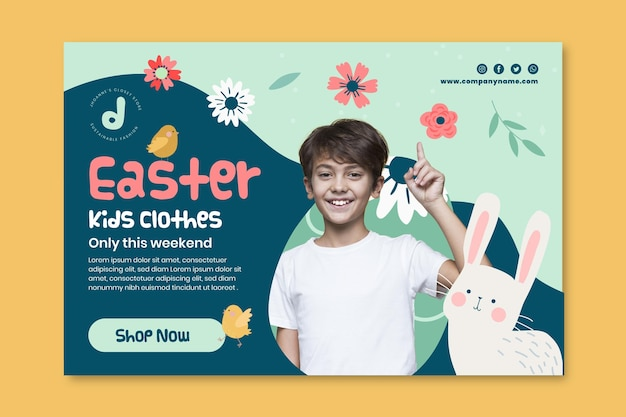 Horizontal banner template for easter sale with boy