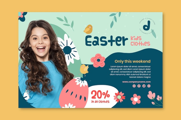 Horizontal banner template for easter sale with girl