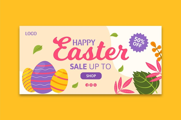 Horizontal banner template for easter sale with greeting