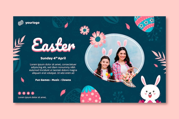 Horizontal banner template for easter with bunny and family