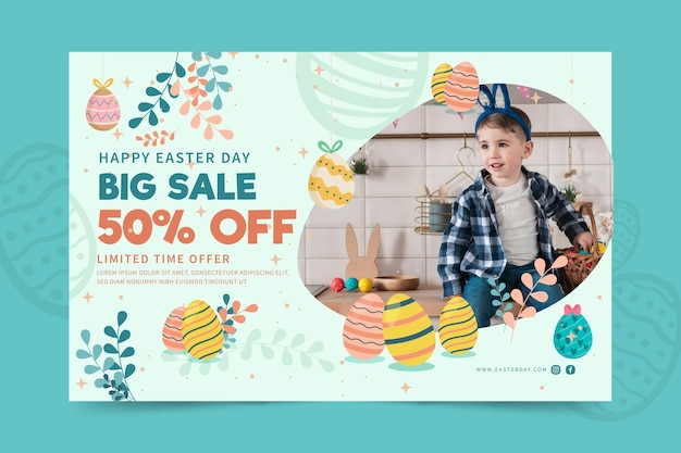 Horizontal banner template for easter with child and eggs