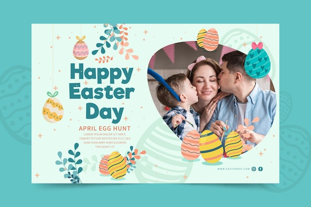 Horizontal banner template for easter with child and family