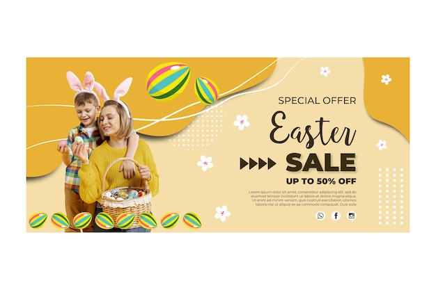 Horizontal banner template for easter with mother and child