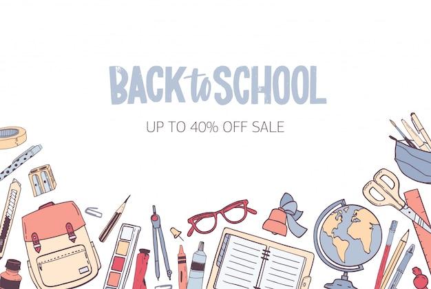 学校に戻る季節セールの水平方向のバナーテンプレート Premiumベクター