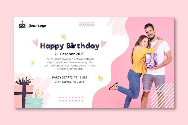 Шаблон горизонтального баннера для празднования дня рождения