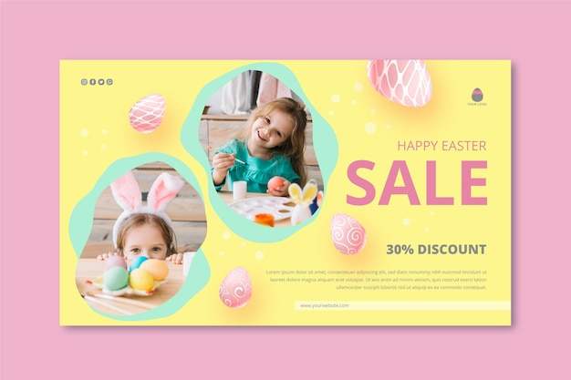 小さな女の子と卵とイースターの販売のための水平バナーテンプレート