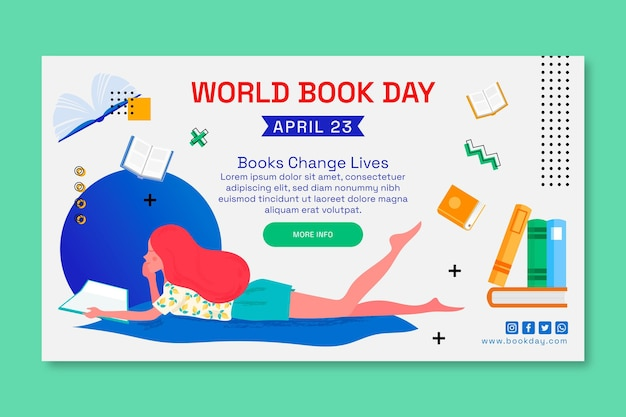 Шаблон горизонтального баннера для празднования всемирного дня книги