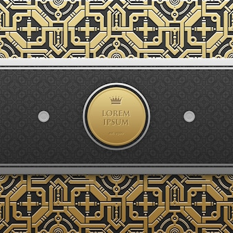 Horizontal banner template on golden metallic background with seamless geometric pattern. elegant luxury style.