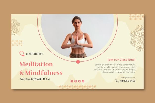 Horizontal banner template formeditation and mindfulness