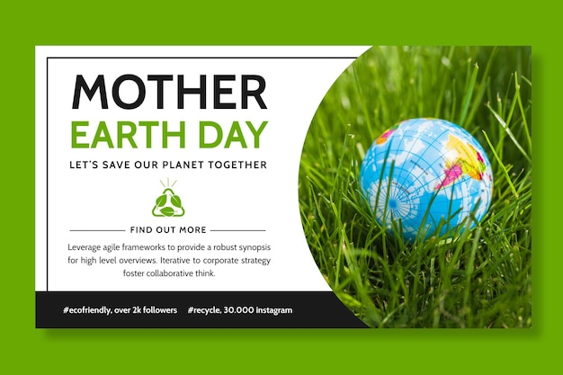 Horizontal banner template for mother earth day celebration