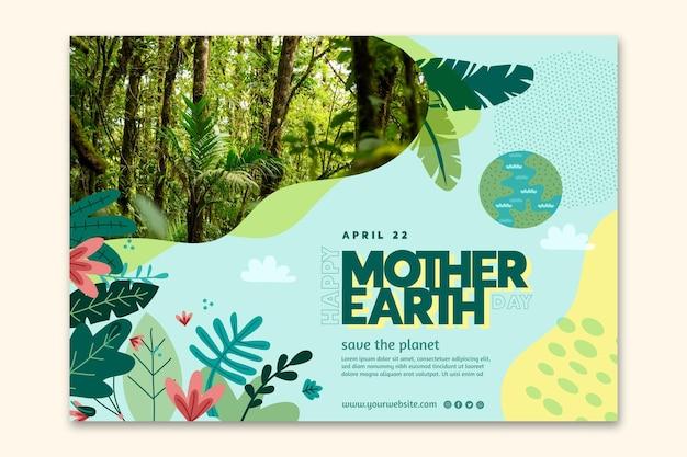 Modello di banner orizzontale per la celebrazione della giornata della madre terra