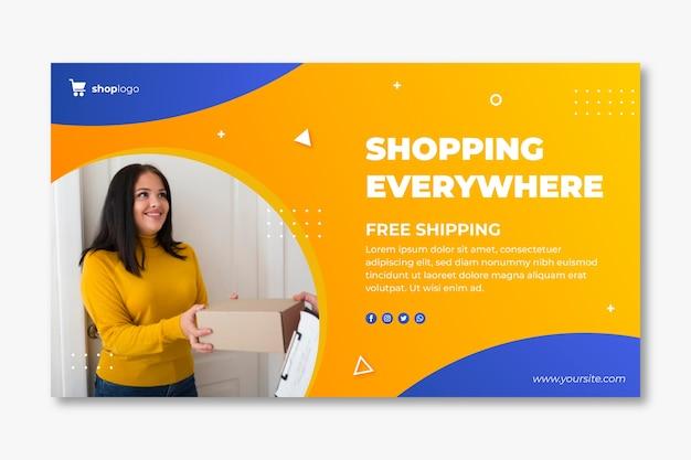 Horizontal banner template for online shopping