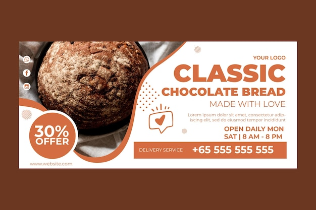 Horizontal banner template for pastry shop