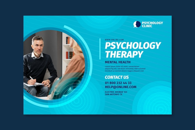 Horizontal banner template for psychology therapy