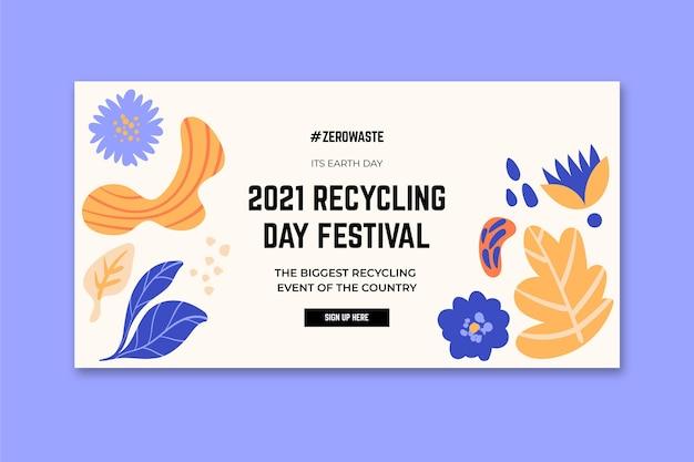 Modello di banner orizzontale per il festival del giorno del riciclaggio