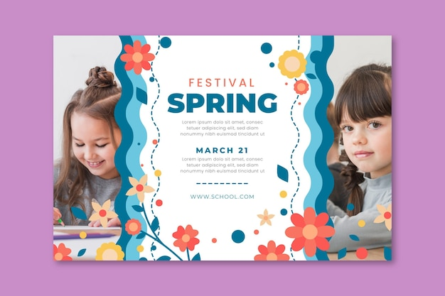 Horizontal banner template for spring with kids