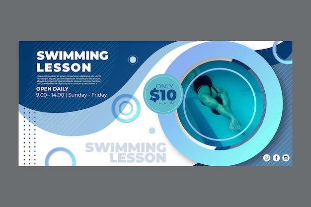 Horizontal banner template for swimming lessons
