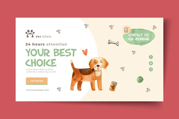 Horizontal banner template for veterinary clinic