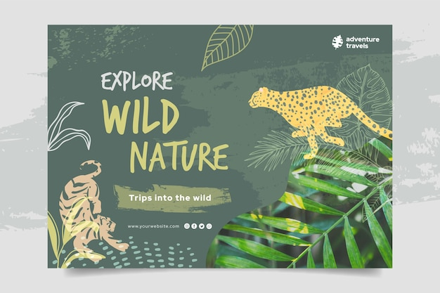 Horizontal banner template for wild nature with tiger and cheetah