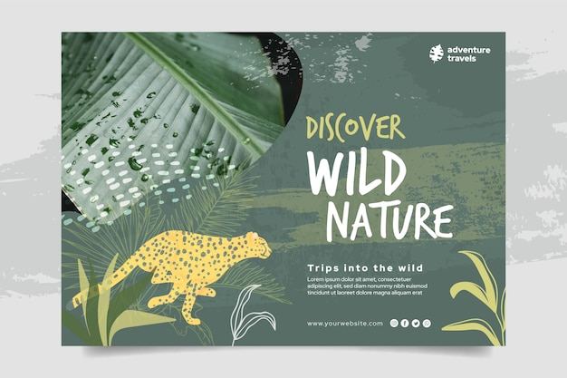 Horizontal banner template for wild nature with vegetation and cheetah