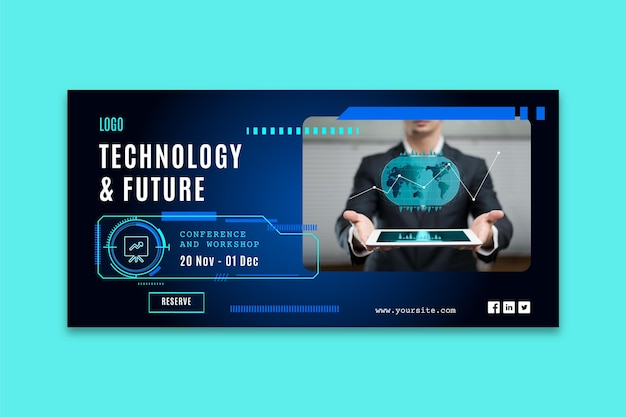 Horizontal banner template with futuristic technology