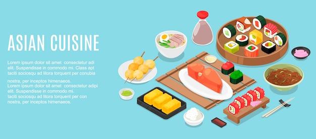 マレーシア料理のおいしい食事と水平方向のバナーテンプレート