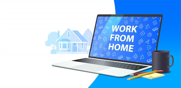 Horizontal banner on the theme of remote work. notebook pencil and notebook