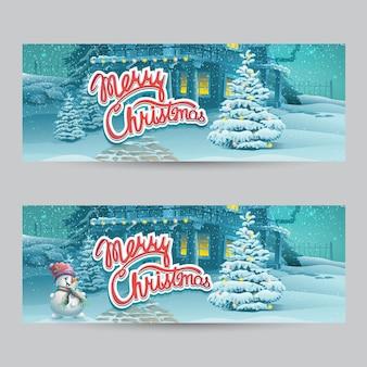 Horizontal banner - vector cartoon illustration merry christmas.