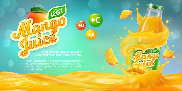 Горизонтальный баннер с 3d реалистичной рекламой сока манго, бутылки с соком манго среди брызг и логотипом