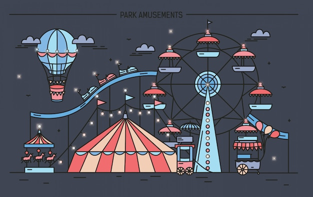 Horizontal banner with amusement park. circus, ferris wheel, attractions, side view with aerostat in air. colorful line art illustration on dark background.