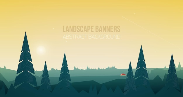 Horizontal banner with beautiful forest landscape