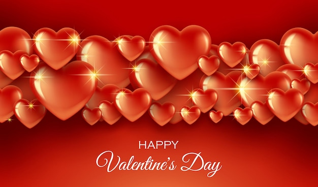 Horizontal banner with a border of bright red hearts on a red bright background.