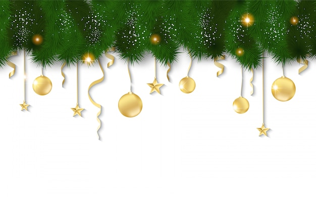 Horizontal banner with christmas tree garland and ornaments