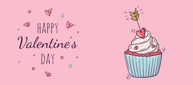 バレンタインデーの落書きスタイルの赤いハートの矢印で飾られたカップケーキと水平バナー。