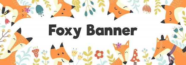 Horizontal banner with cute foxes and plants banner background