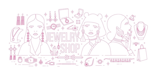 Horizontal banner with fashionable women wearing trendy earrings surrounded by luxury jewelry drawn with pink contour lines on white background. monochrome vector illustration for store advertisement.