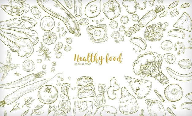 Horizontal banner with frame consisted of different healthy or wholesome food