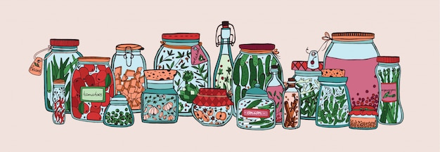 Horizontal banner with fruits, pickled vegetables and spices in jars and bottles hand drawn on white
