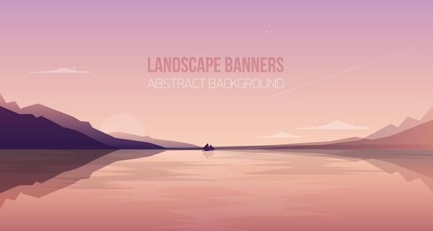 ゴージャスな海辺の風景や風景と水平バナー。山々のシルエットと夕日の空を背景に、海の湾をヨットで航行する美しい景色。カラフルなイラスト