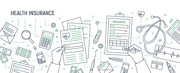 Horizontal banner with hands filling out form of health insurance surrounded by dollar bills and coins, documents, medicines drawn with contour lines. monochrome illustration in lineart style.