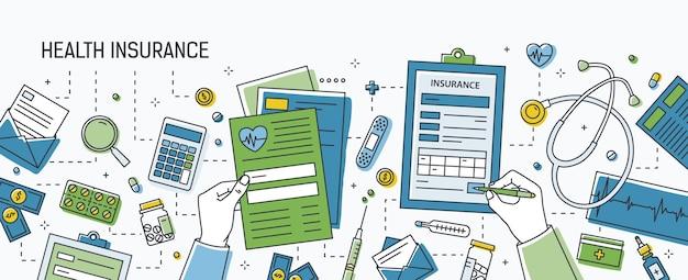 ドル紙幣や硬貨、錠剤やその他の薬、医療ツールに囲まれた健康保険のフォームに記入する手が付いた水平バナー。ラインアートスタイルの色付きベクトルイラスト。