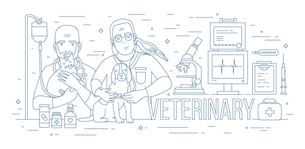 Horizontal banner with pair of veterinarians holding dog, cat and parrot