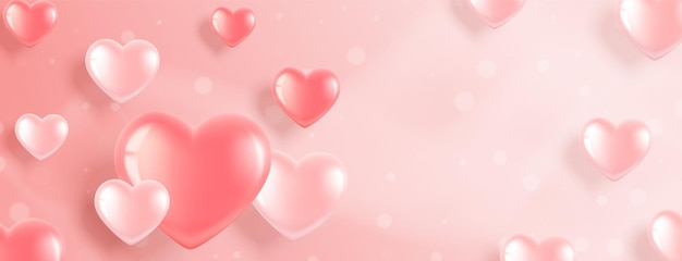 Horizontal banner with pink heart-shaped balloons on a pink background. romantic illustration for valentine's day and international women's day.