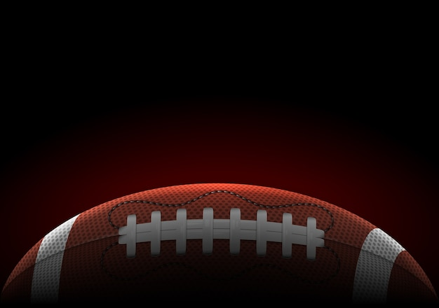 Horizontal banner with realistic american football ball