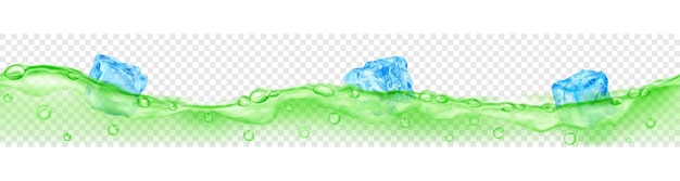 Горизонтальный баннер с бесшовной волной. полупрозрачные голубые кубики льда и много пузырьков воздуха, плавающих в зеленой воде на прозрачном фоне. прозрачность только в векторном формате