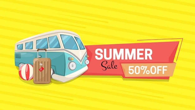 Horizontal banner with summer
